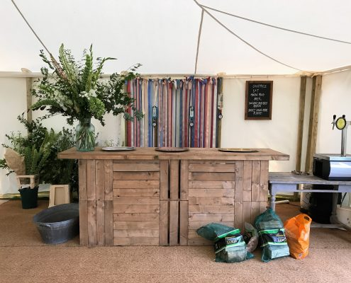 8ft Vintage apple Crate Bar unit