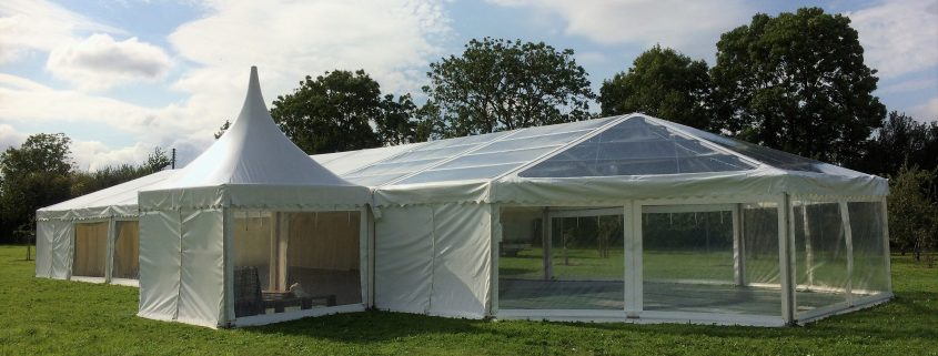 Clear gable and roof to one end of marquee with oriental canopy attached