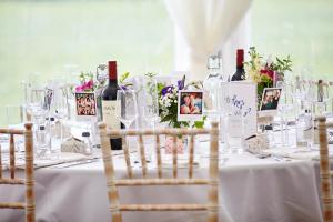 Beautifully decorated table with chivari chairs