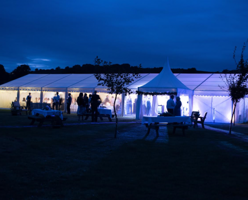 Clearspan marquee with 3m oriental canopy at night