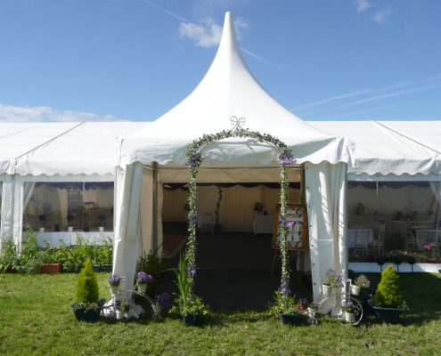 3m Oriental canopy attached to a clearspan marquee