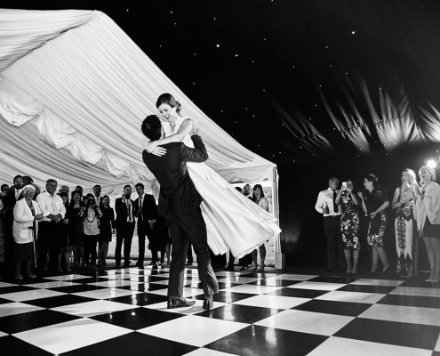 Black & white dance floor with blackout starlight lining