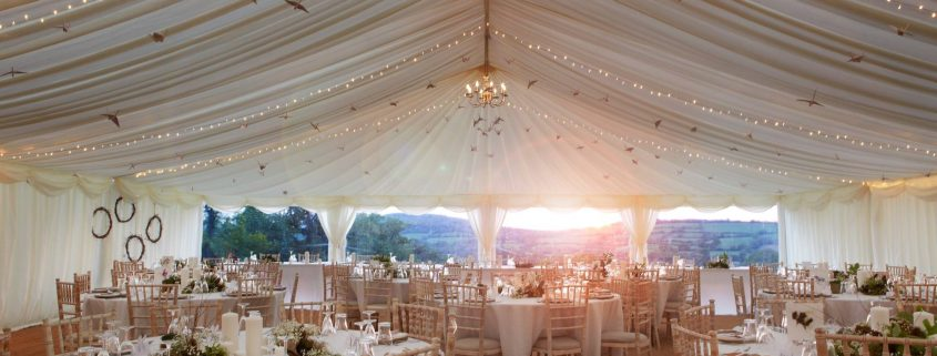 Clearspan marquee with pea lights and bird decorations.... with an amazing view!!