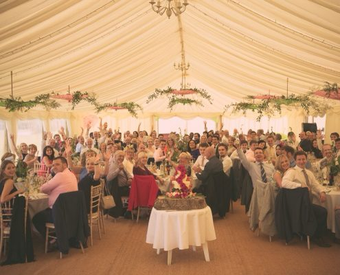 Clearspan marquee with parasol decorations