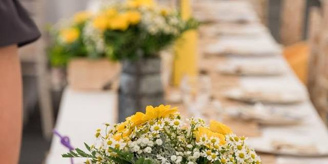 Yellow & light grey themed wedding