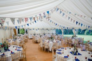 Wooden flooring with blue bunting