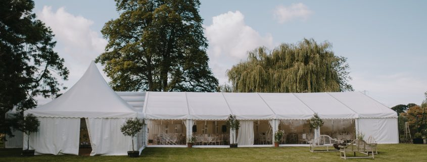 Framed marquee with a 6m Oriental canopy Chinese hat as a porchway entrance