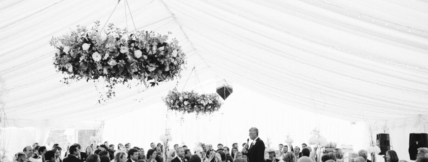 Clearspan marquee with beautiful hanging  flower rings